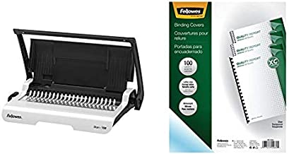 Fellowes Binding Machine Star+ Comb Binding (5006501),Gray & Binding Presentation Covers, 8mil, Letter, 100 Pack, Clear (52089)