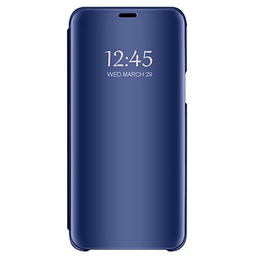 Neivi Huawei P20 Lite Pro cáscara de Piel Cubierta de la Caja del Espejo abatible Bolsa de teléfono del Folio con el Soporte para la función 2018 (Azul, Lite)