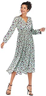 ZCLAU Floral Dress Long Section of The Spring Pressure Pleated V-Neck Long-Sleeved Chiffon Dress was Thin (Color : Green, Size : M)