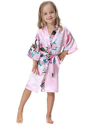 Aibrou Girls' Peacock Satin Kimono Robe Bathrobe Nightgown For Party Wedding,8,Pink Indiana