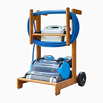 Terra Premium Caddy for Dolphin Robotic Pool Cleaners - All-New Patent-Pending Design for Pool Robot Mobility, Storage & Transport. (Medium Bamboo)