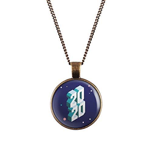 Mylery Halskette mit Motiv Silvester 2020 Bronze 28mm