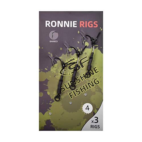 SF hameçons de pêche barbelés point crochet pêche à la carpe Ronnie Rigs acier au carbone avec anneau # 8 / vis 12mm / 3 pièces # 6