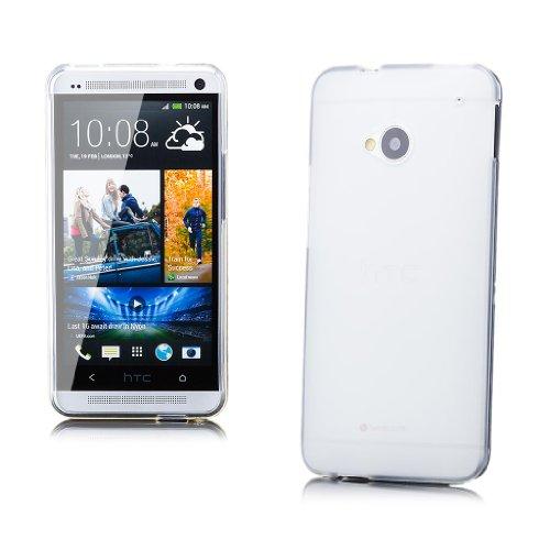 iCues HTC One M7 |  TPU Matt Case Weiss | [Display Schutzfolie Inklusive] Transparent Klarsichthülle Durchsichtig Klare Klarsicht Silikon Gel Schutzhülle Hülle Cover Schutz