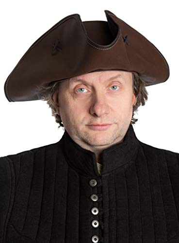 Andracor - Handgefertigter Dreispitz - Piratenhut aus echtem Leder für Karneval, Mittelalter-Markt, Cosplay, Fantasy & Steampunk - Farbe: Braun - Hutgröße: 61-62