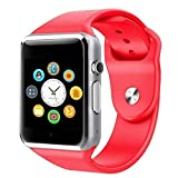 MECKWELL A1 Wireless Smart Watch Bluetooth Smartwatch Compatible with All Mobile Phones for Boys and Girls - Red