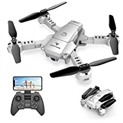 【HD Pictures & Videos and FPV Function】The mini foldable drone equipped with 720P HD Camera, which captures high-quality video and clear aerial photos. You can watch a live video in your smart phone for beautiful scenery by wifi real-time transmissio...
