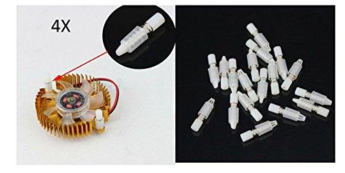tecnostore® 4x Tornillos de plástico con resorte para ventiladores Esparcidores tarjetas PC VGA pies Case