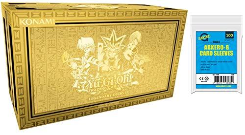 A YuGiOh! Legendary Decks 2 - Reprint - LDK2   DEUTSCH   Yu-Gi-Oh! Karten NEU   + Arkero-G 100 Small Soft Sleeves japanische Kartenhüllen