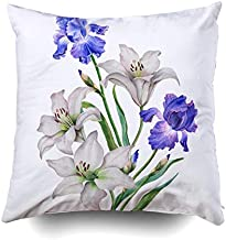 Pamime Square Throw Watercolor Composition Flowers Floral White Lilies Blue Irises Isolated Background a Pillow Case Cover Decorative Cushion for Home 18X18Inches(45X45cm) Pillowcase