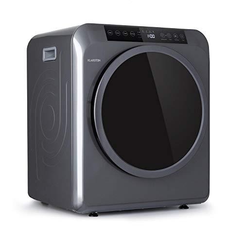 KLARSTEIN EZ Dry - Asciugatrice con Scarico, Carico Frontale, 1500 W, Posizionamento Libero/Incasso, 6 kg, 3 Livelli di Calore, fino a 165 Min, 6 Programmi, Funzione Antipieghe, Grigio