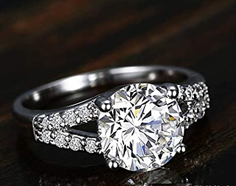 Silver,4.5 Halo Solitaire Simulated Gemstone Promise Engagement Anniversary Ring Birdal Wedding Band Sizes 4-10 FunDiscount CZ Diamond Cut Cubic Zirconia Engagement Rings for Women