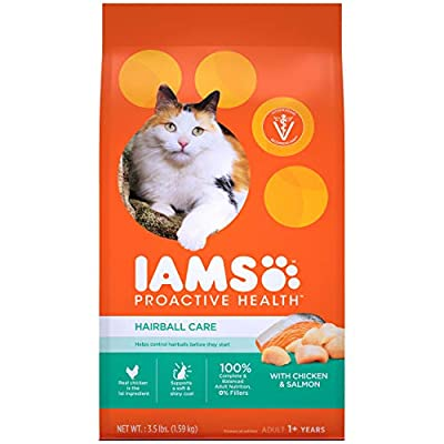 IAMS PROACTIVE HEALTH Adult Hairball Care Protein-Rich Hairball Control Dry Cat Food with Chicken and Salmon, 3.5 lb. Bag