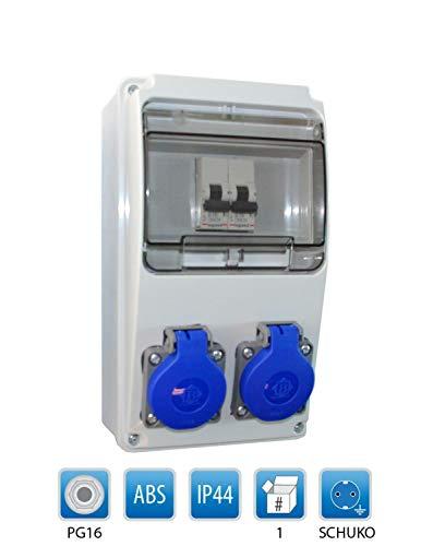 Baustromverteiler/Wandverteiler 2 x Schuko 230V/16A verdrahtet + LEGRAND LS