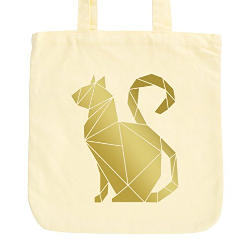 JUNIWORDS Jutebeutel in hellen Pastellfarben - Origami Katze Sitzend - Tasche: Pastellgelb - Schrift: Gold