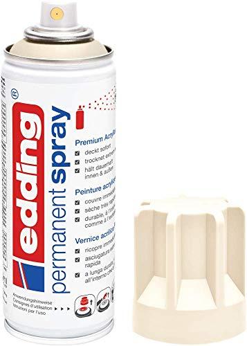 edding 5200 Permanent-Spray - hell-elefenbein matt - 200 ml - Acryllack zum Lackieren und Dekorieren von Glas, Metall, Holz, Keramik, lackierb. Kunststoff, Leinwand, u. v. m. - Sprühfarbe