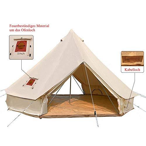Sport Tent 4-Jahreszeiten Outdoor Camping Zelte Baumwolle Wasserdicht Familienzelt Tipi Indianerzelt Teepee Glockenzelt mit 2 Türen und Herdloch/Kaminrohre Entlüftung (6 M, Mit Ofenloch)