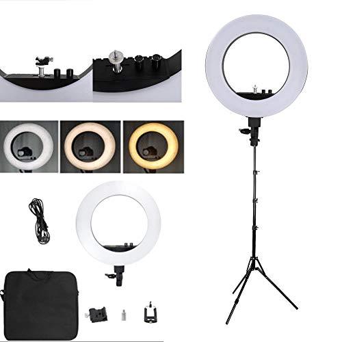 Ciuitixi Kit de 18 luces LED con soporte de luz de 2 m, intensidad regulable para maquillaje de escritorio para fotografía/disparo/transmisión en vivo