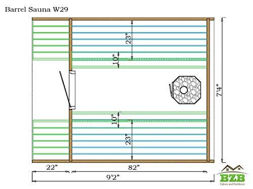 Barrel Sauna Room BZBCabins.com W29 Dimensions
