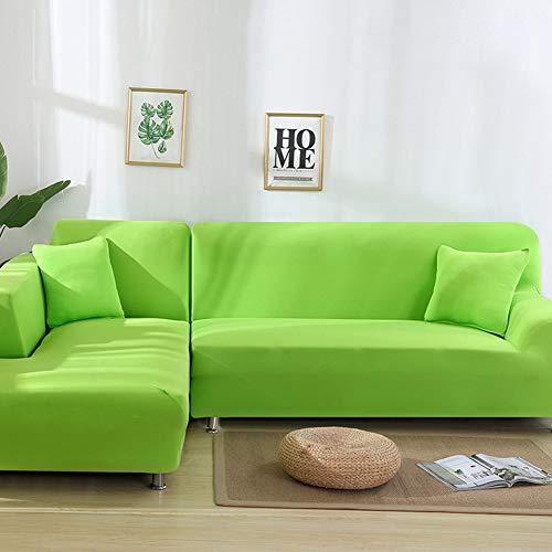 NGMZ Funda de sofá Sofá esquinero Funda Protectora Fundas para Muebles elásticas Color elástico para la Sala de Estar, Verde Brillante, 3 Asientos