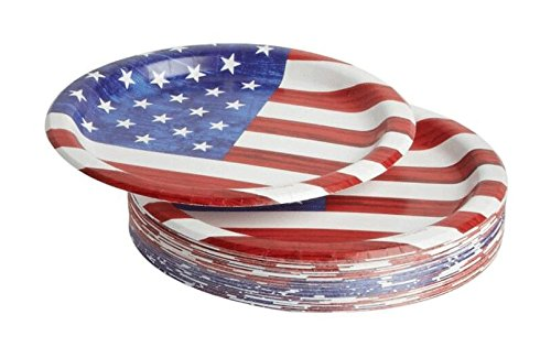 Northeast Home Goods Stars and Stripes Round Paper Dinner Plates 9-Inch, Pack of 50