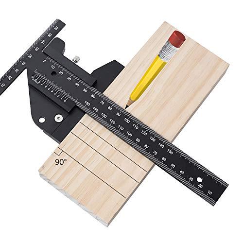 Righello Metro di misurazione per la lavorazione del legno Scriba a forma di T in Lega di alluminio, 45/90/135° 0 – 210 mm multifunzione professionale per nonius e falegnameria