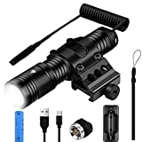 Eizigon Tactical Flashlight Super Bright 1250 Lumens IPX65 Weapon Light with Picatinny Rail Mount for Rifle, 3 Modes Pressure Switch Compatible with AR, Rechargeable Battery 2600mAh for Hunting