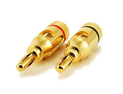Monoprice Gold Plated Speaker Banana Plugs Open Screw Type (109329)