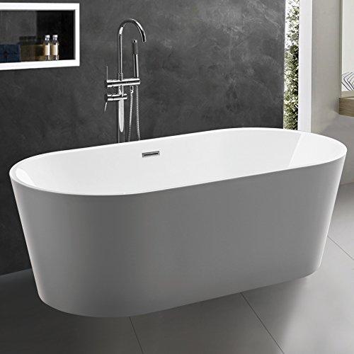 KIVA RHYME 59' Freestanding Bathtub, 100% Acrylic Bath Tub, High Glossy White, Model ALLURE-MINI