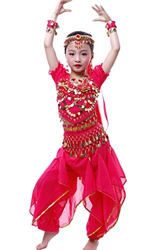 Costume per travestimento ballerina da danza del ventre, da bambina/ragazza, per carnevale, Halloween, cosplay, stile orientale, Bambino, Hotpink, M-6-8 years