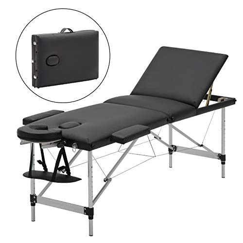 Meerveil Portable Massage Table, Lightweight Couch Bed, Folding Beauty Couch Bed, Adjustable Plinth Therapy Reiki Tattoo Salon Beauty Spa Couch with Carrying Bag, Black, 3-Section