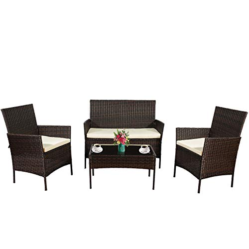 ZAZA 4 Pieces Outdoor Sofa Patio Furniture of Rattan Wicker, Patio Conversation Sofa Seating Sets with 3 Cushioned Sofas and 1 Coffee Table, Outdoor Indoor Use Pool Backyard Lawn Balcony Set (Brown)