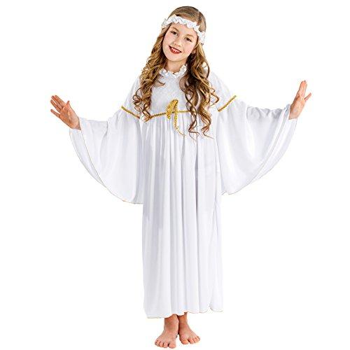 dressforfun Costume da bambina - Angioletto natalizio | Meraviglioso abito lungo | incl. Fascia elastica per capelli (8-10 anni | no. 300428)