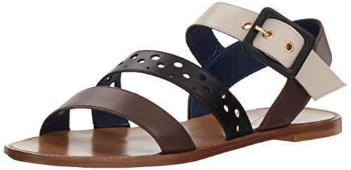 Amalfi by Rangoni Women's Igino Flat Sandal, Ebony/Black/Beige Natural, 8.5 M US