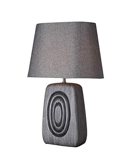 Meubletmoi Tafellamp, houtlook, grijs, bruin, lampenkap - decoratieve lamp, vintage-stijl, 50/60 jaar, cirkels
