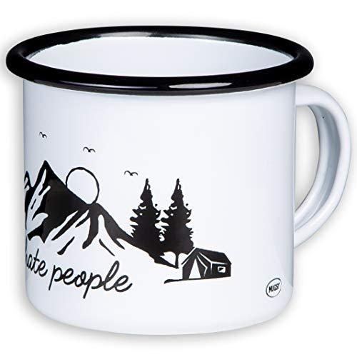 I Hate People | Hochwertige Emaille Tasse mit Outdoor Design | leicht und bruchsicher, für Camping und Trekking | von MUGSY.de