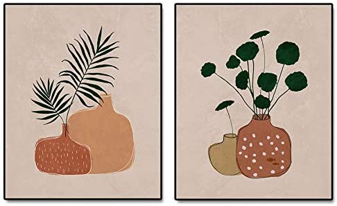 Abstract Pottery Art Print Palm Leaf Terracotta Pot Wall Print Minimalist Plant Art Mid Century product image