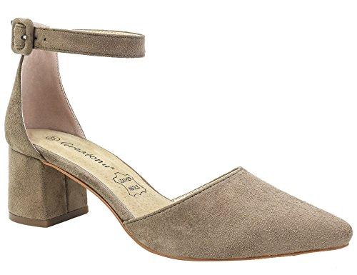 Greatonu Damen Knöchelriemchen Gecshlossene Sandalen mit Blockabsatz Beige Größe 38EU