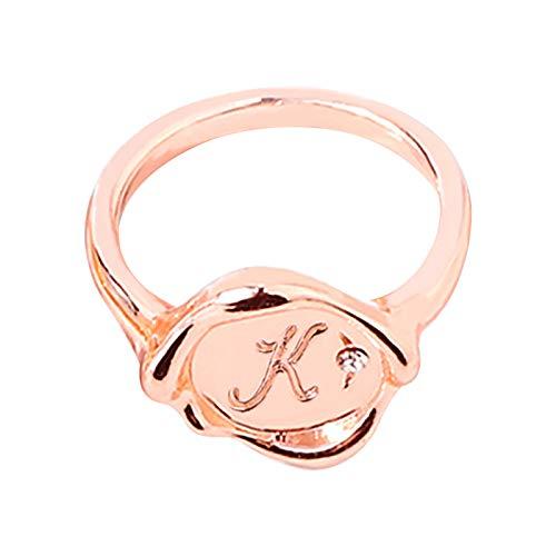 Comie Anillo de mujer elegante, anillo básico con forma de corazón con diamante Bling Fashion alianzas de boda plata circonitas de acero inoxidable anillos de San Valentín regalo para mujeres