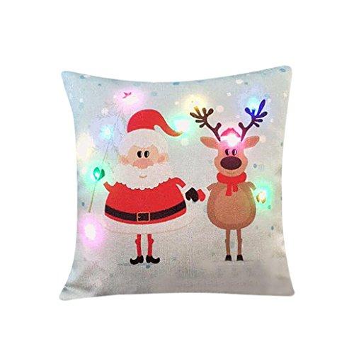 Gusspower, federa per cuscino con illuminazione a LED lampeggiante, brilla al buio, decorazione per divano, illuminazione lampeggiante, illuminazione a LED, 45x45 cm, a, 45 x 45 cm