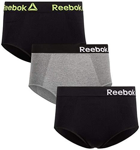 Reebok Women High Waist Nylon/Spandex Seamless Brief Underwear (3 Pack), Size Small, Black/Charcoal/Black'