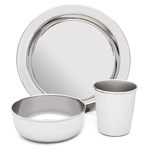 Stainless Steel Dish Set for Kids, with Plate, Bowl, and Cup - BPA Free - by HumanCentric