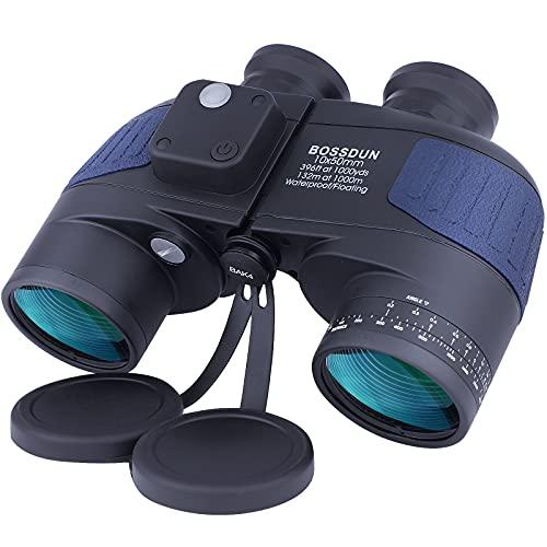 10X50 Prismáticos Marinos para Adultos Impermeable con Brújula Brújula BAK4 a Prueba de Niebla Prism Lens Binoculares Militar para Navegación Navegación Observación de Aves y Caza (LP02L)
