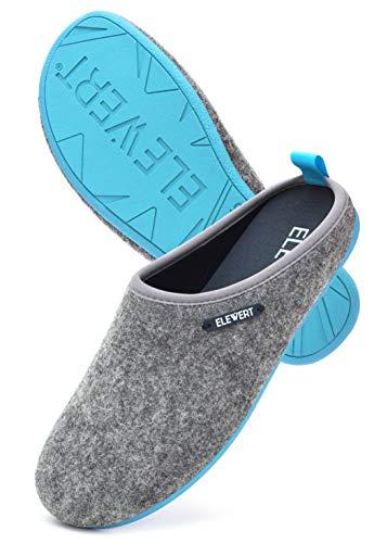 ELEWERT® – Hausschuhe für Herren/Damen - Natural - Pantoffeln/Slipper – für Drinnen und Draußen - herausnehmbares Fußbett - rutschfeste Gummisohle - Grau/Blau, EU 38