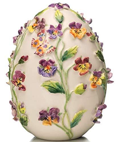 Palais Royal Violetta Scatola Uovo in Porcellana Pasqua Fiori Grande