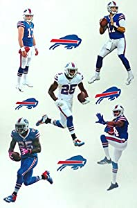"Buffalo Bills Mini FATHEAD Team Set of 5 Players + Bills Logo Set Official NFL Vinyl Wall Graphics - Each Player 7"" INCH"