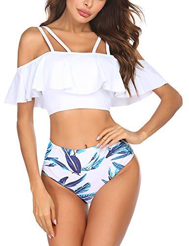 Ekouaer Damen Bademode Bikini Sets Badeanzug Rüschen Hals Hängen Zweiteilige Tankini Set mit Hoher Taille Strandkleidung