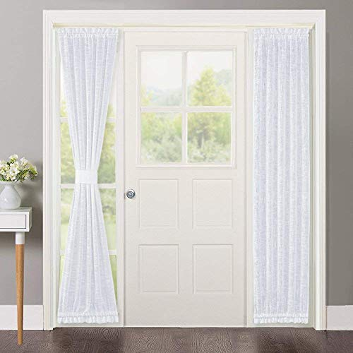 NICETOWN Sidelight French Door Panel, Linen Textured Look Translucent Privacy Door Side Light Sheer Front Door Curtain Including Tieback, 30 inches Wide x 72 inches Long, White