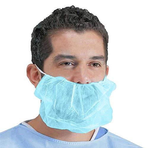100 Pack of Disposable Beard Covers 18' Blue Beard Guards Premium Quality Beard Protectors Heavy Duty Beard Caps Facial Hair Covering Single Loop Breathable Lightweight