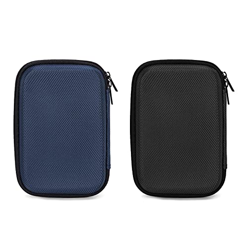Ginsco 2 Pcs EVA Hard Carrying Small Hard Drive Case Compatible with WD Elements,My Passport,Toshiba Canvio Portable Hard Drives, Power Bank Charger Advance Black+Blue